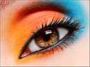colorful orange and blue eye makeu