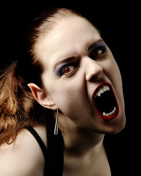 female vampire with fangs and elf ears