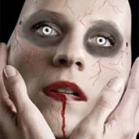 zombine makeup with veining and contact lenses that glow